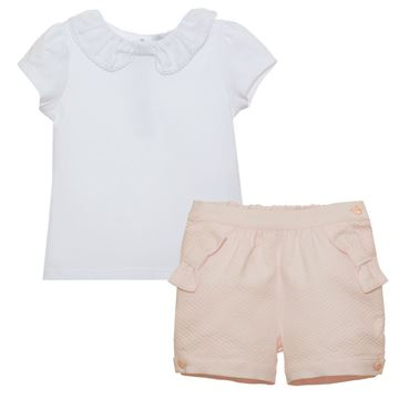 Picture of Patachou Girls Pink & White Top & Shorts Set with Bows
