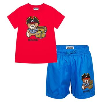 Picture of Moschino Boys Red T-Shirt & Royal Blue Swim Shorts Set