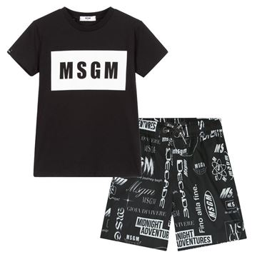Picture of MSGM Boys Black T-Shirt & Swim shorts set