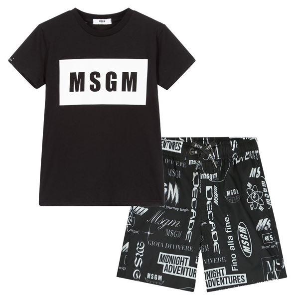 Picture of MSGM Boys Black T-Shirt & Swim shorts set