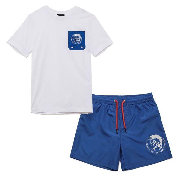 Picture of Diesel Boys Blue T-Shirt & Swim Short Set