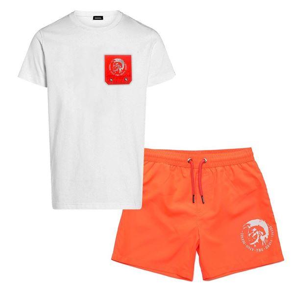 Picture of Diesel Boys Orange T-Shirt & Swim Short Set