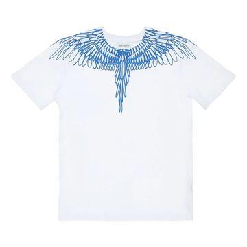 Picture of Marcelo Burlon Boys White &  Blue T-Shirt
