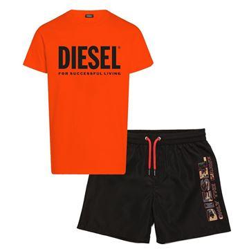 Picture of Diesel Boys Orange & Black T-Shirt & Swim Short Set