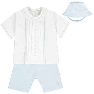 Picture of Emile Et Rose Baby Boys Blue Wade Short Set with Hat