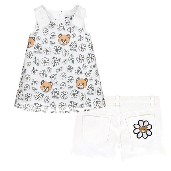 Picture of Moschino Girls White Daisy Teddy Top & Shorts