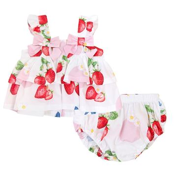 Picture of Balloon Chic Baby Girl White Strawberry Top & Knickers with Bow