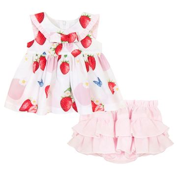 Picture of Balloon Chic Baby Girl White Strawberry Dress with Pink Knickers