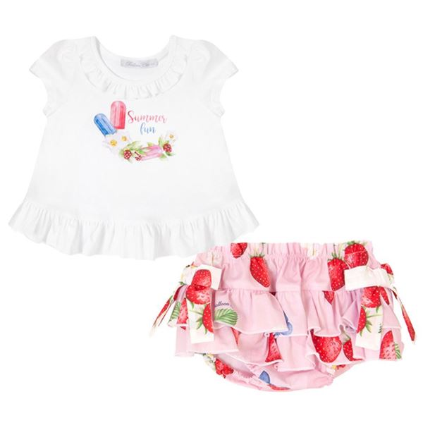 Picture of Balloon Chic Baby Girls White Strawberry Top & Knickers Set