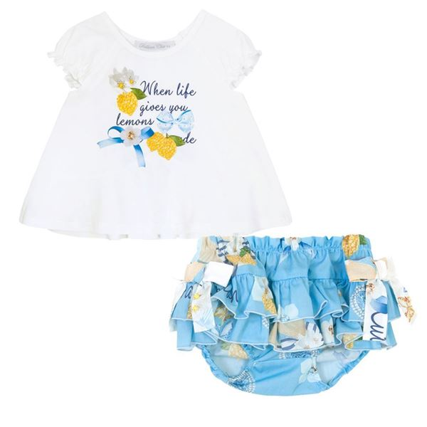 Picture of Balloon Chic Baby Girls Blue Top & Knicker Set