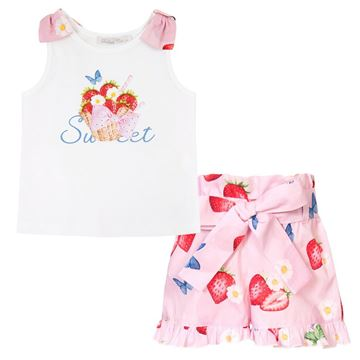Picture of Balloon Chic Girls Strawberry Top & Pink Shorts Set