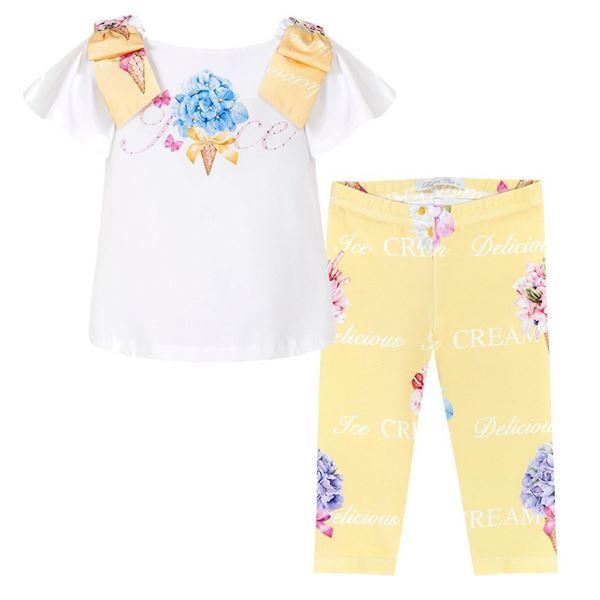 Picture of Balloon Chic Girls Top & Lemon Flower Leggings Set