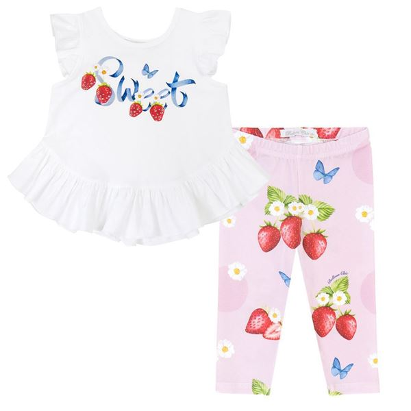 Picture of Balloon Chic Girls White Top with Pink Strawberry Leggings Set
