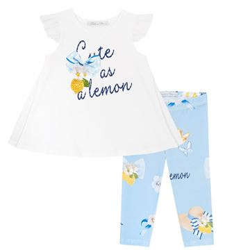 Picture of Balloon Chic Girls Lemon Top & Blue Leggings Set