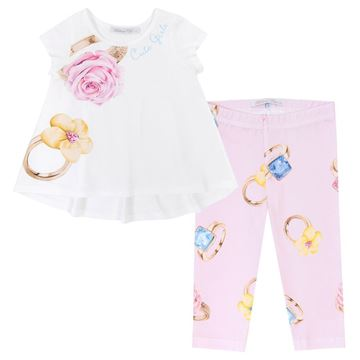 Picture of Balloon Chic Girls Rose Top with Pink Printed Ring Leggings