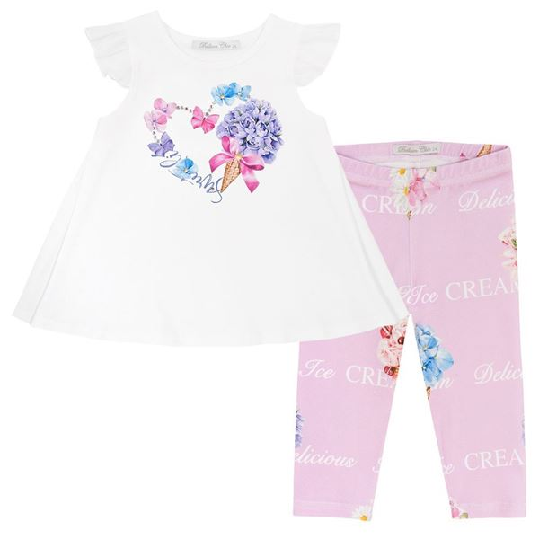 Picture of Balloon Chic Girls Flower Top and Pink Leggings