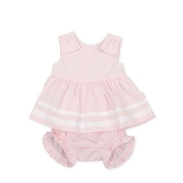 Picture of Tutto Piccolo Baby Girls Pink Stripe Dress with Bow & Knickers