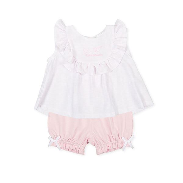 Picture of Tutto Piccolo Baby Girl Pink & White 2 Piece Short Set