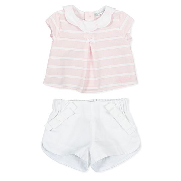 Picture of Tutto Piccolo Baby Girls Pink & White Top & Short Set
