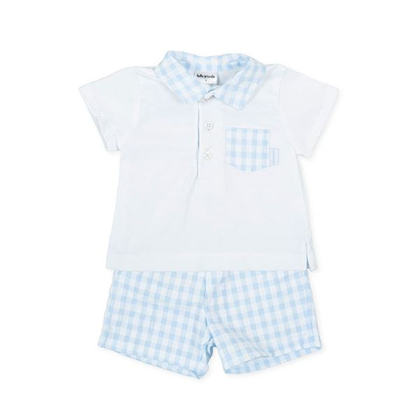 Picture of Tutto Piccolo Baby Boys Blue Checked 2 Piece Short Set