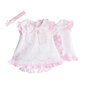 Picture of Pretty Originals Baby Girl White Dress & Knickers with Hairband