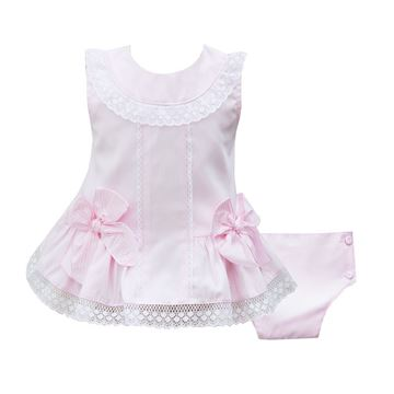 Picture of Pretty Originals Baby Girls Pink & White Top & Knickers
