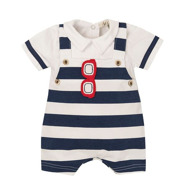 Picture of EMC Baby Boys Navy Striped Romper