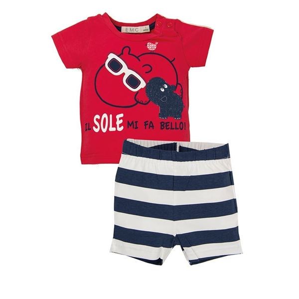 Picture of EMC Baby Boys Red & Navy Top & Short Set