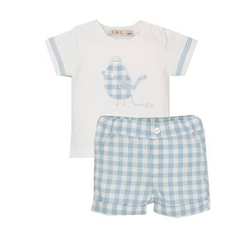 Picture of EMC Baby Boys Blue Checked Top & Shorts Set