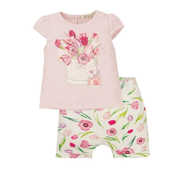 Picture of EMC Baby Girls Pink Flower Top & Shorts Set