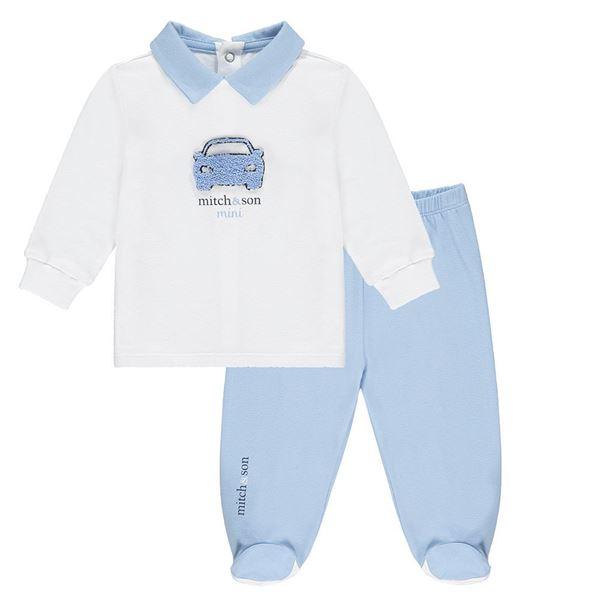 Picture of Mitch & Son Mini Baby 'Hoim' Blue 2 Piece Baby Set