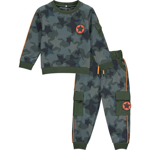 Picture of Mitch & Son Boys 'Montrose' Khaki Printed Tracksuit