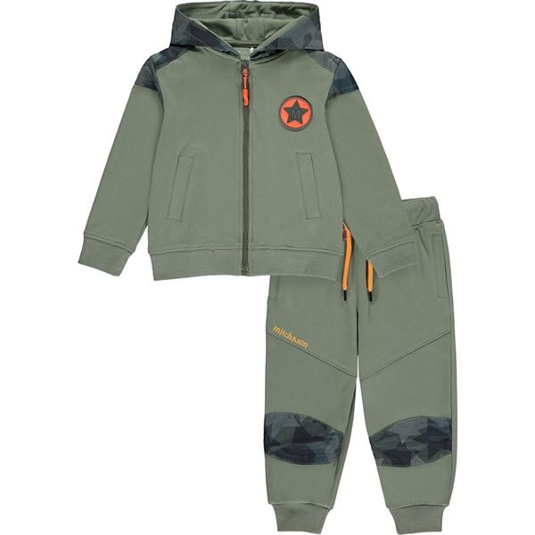 Picture of Mitch & Son Boys 'Mair' Khaki Zip Tracksuit