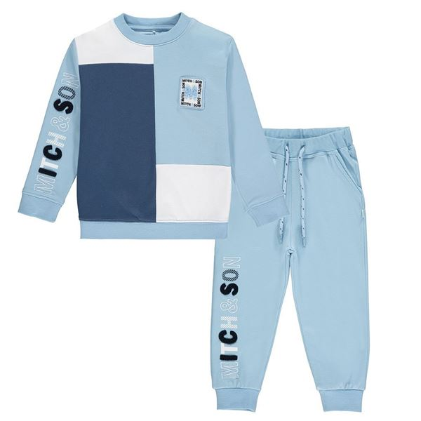 Picture of Mitch & Son Boys 'Piccadily' Blue Colour Block Tracksuit