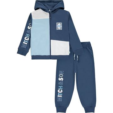 Picture of Mitch & Son Boys 'Port' Navy Block Tracksuit