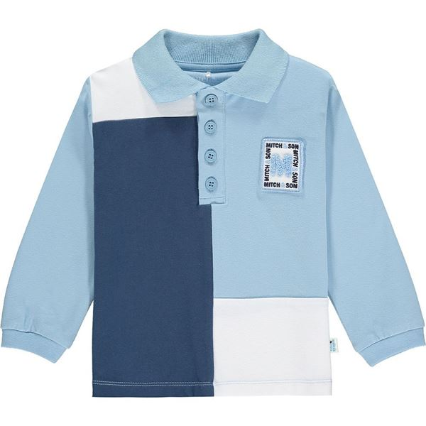 Picture of Mitch & Son Boys 'Pitt' Blue Block Polo Top