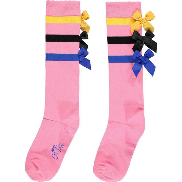 Picture of Ariana Dee Girls 'Stacey' Pink Bow Knee Socks