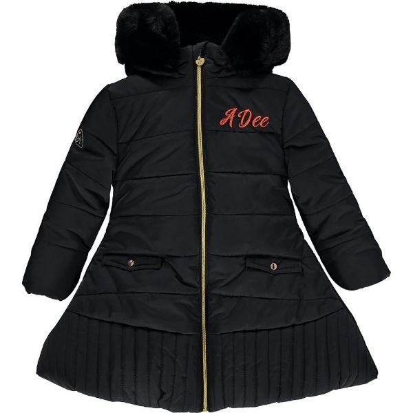 Picture of Ariana Dee Girls 'Taylor' Black Coat with Faux Gur Hood