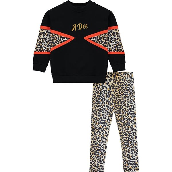 Picture of Ariana Dee Girls 'Tori' Black Sweat with Leopard Leggings Set