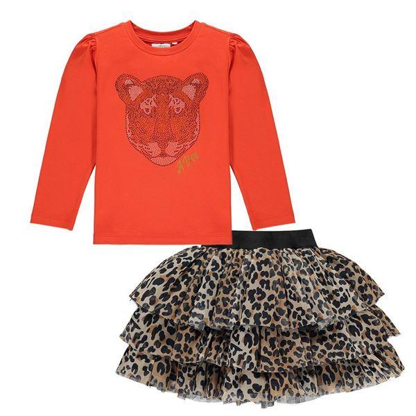 Picture of Ariana Dee Girls Orange Top & Leopard Skirt