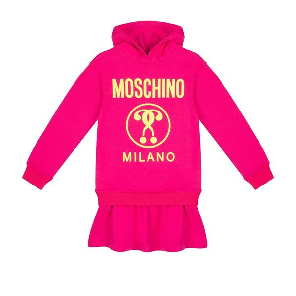 Picture of Moschino Girls Pink Hoody Jumper Dress
