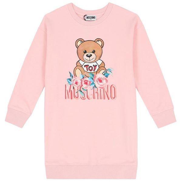 Picture of Moschino Girls Pink Rose Jumper Dress