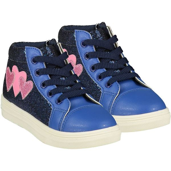 Picture of Ariana Dee Girls 'Hearts' Blue High Top with Pink Hearts