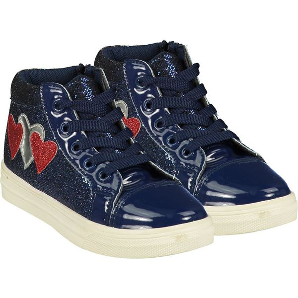 Picture of Ariana Dee Girls 'Hearts' Navy High Top with Red Hearts