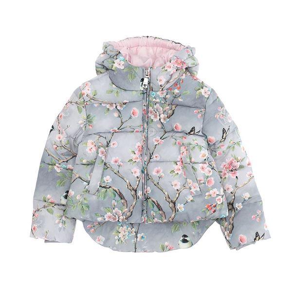 Picture of Monnalisa Girls Grey & Pink Printed Flower Jacket