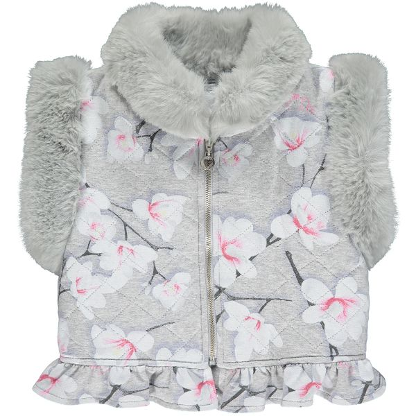Picture of Ariana Dee Girls 'Parker' Grey Print Faux Fur Gilet