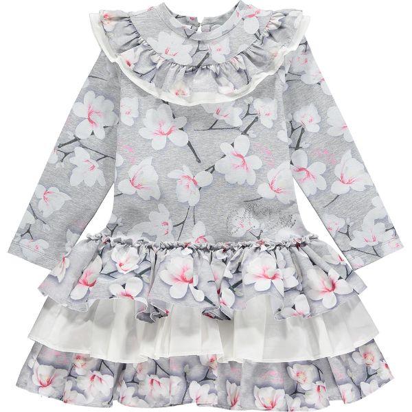 Picture of Ariana Dee Girls 'Paula' Grey Magnolia Print Dress