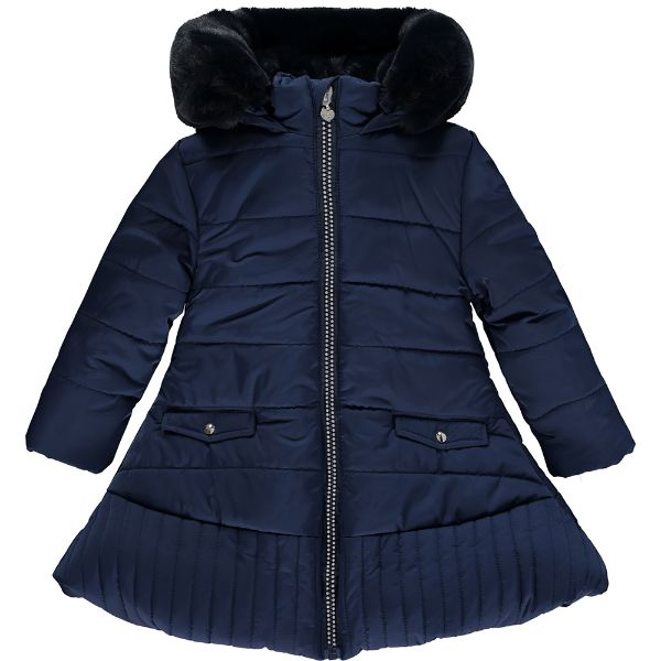 Picture of Ariana Dee Girls 'Riley' Navy Coat with Faux Fur Trim