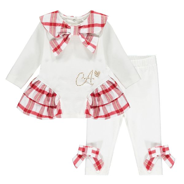 Picture of Little A Baby Girls 'Brielle' Red Check Leggings Set