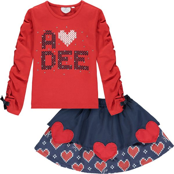 Picture of Ariana Dee Girls 'Raelyn' Red Heart Top & Knitted Skirt